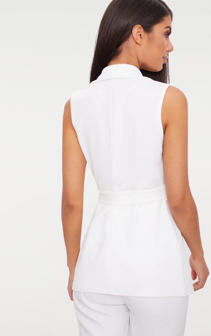 White Sleeveless Belted Blazer 2