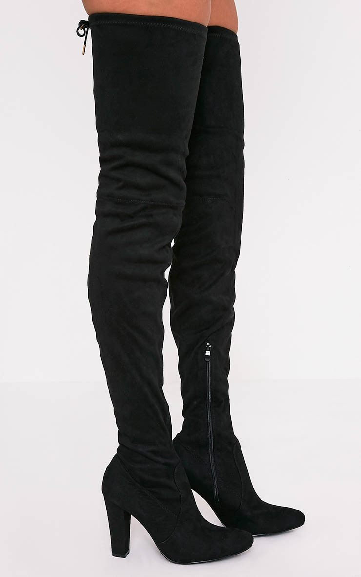 Cindy Black Extreme Thigh High Block Heeled Boots 2
