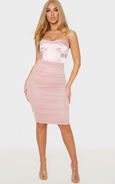 Pink Textured Glitter Mesh Ruched Midi Skirt