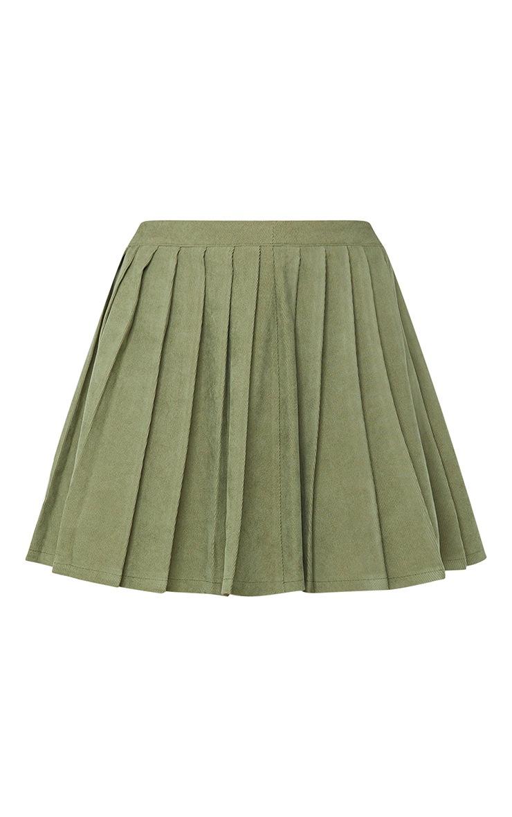 Khaki Cord Pleated Skater Skirt 6