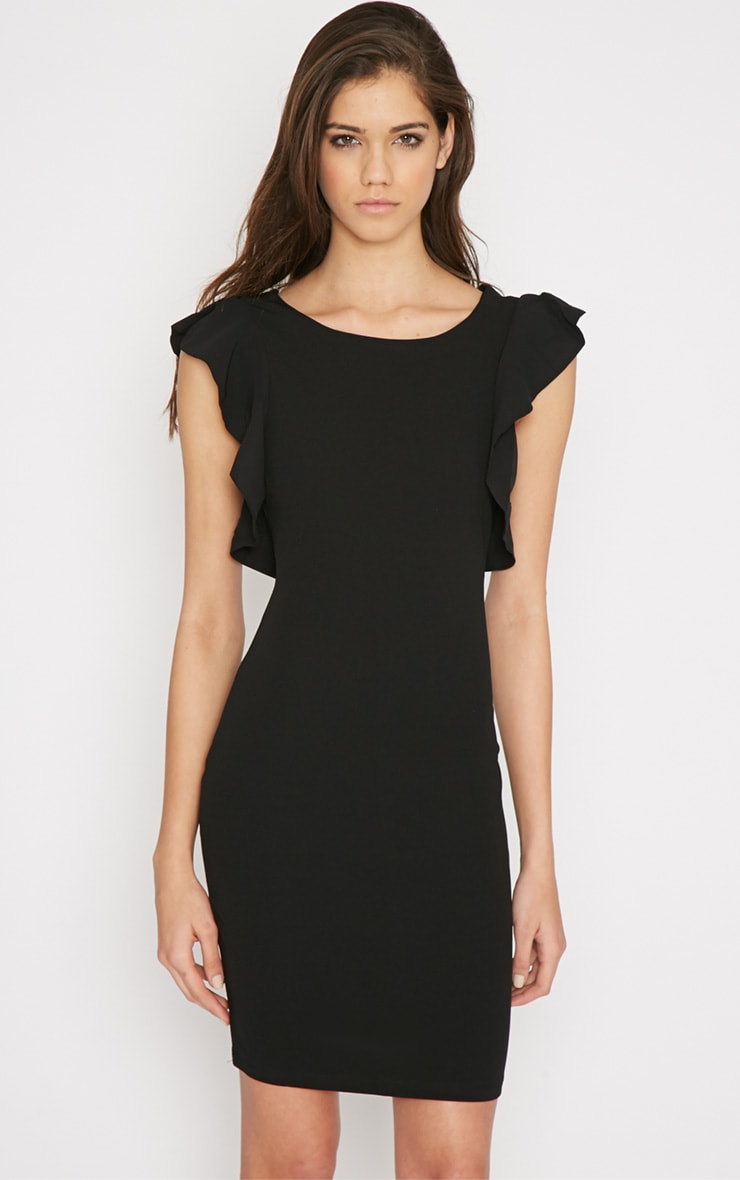 Hazel Black Frill Back Mini Dress 5