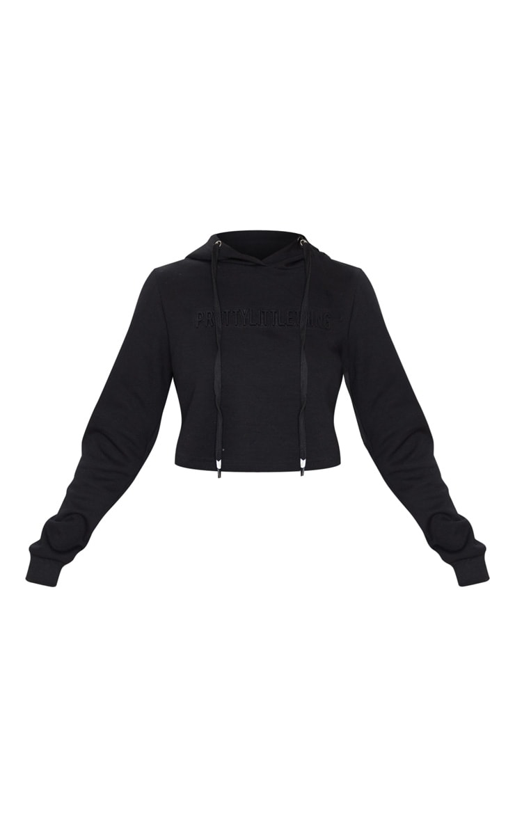 PRETTYLITTLETHING Black Embossed Cropped Sports Hoodie 3