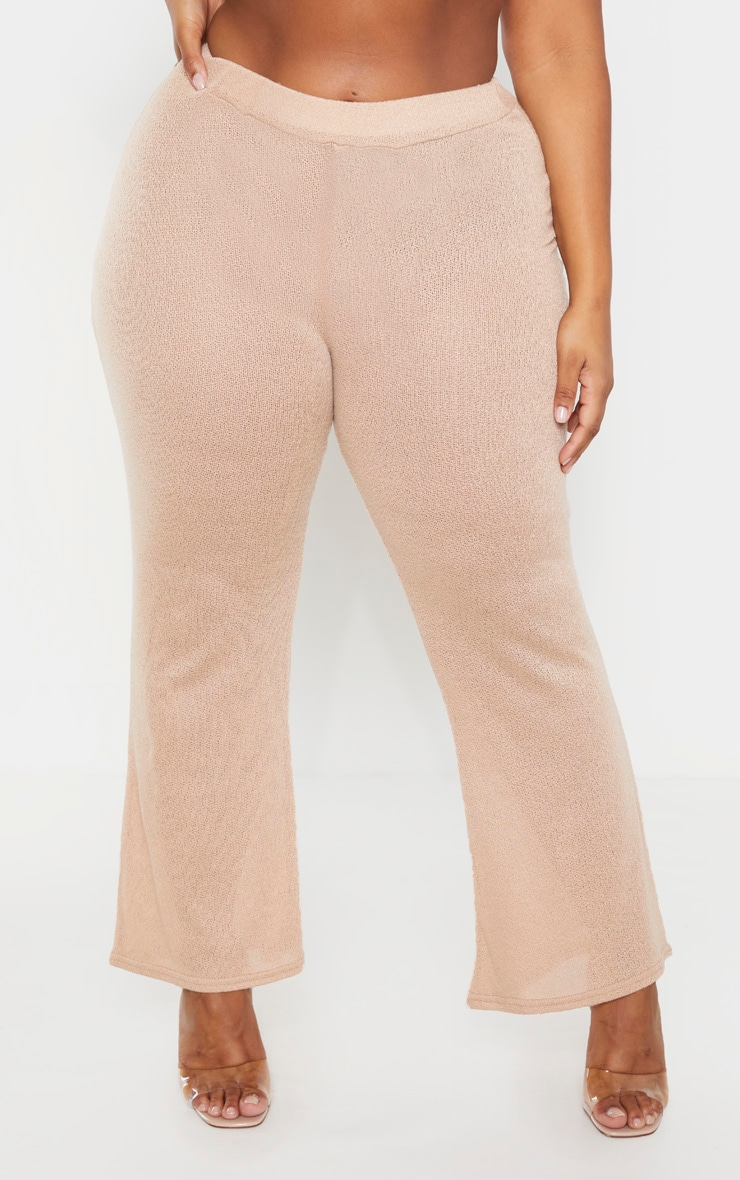 Plus Stone Textured Wide Leg Trousers 2