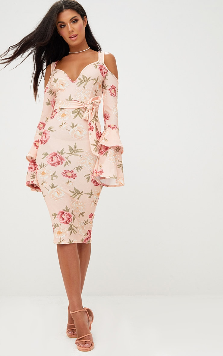 Nude Cold Shoulder Frill Sleeve Midi Dress 1