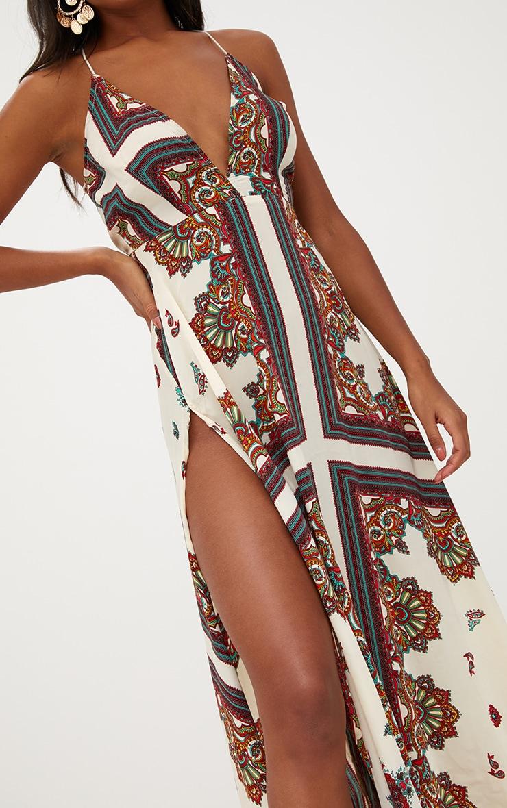 White Chain Print Extreme Split Maxi Dress 5
