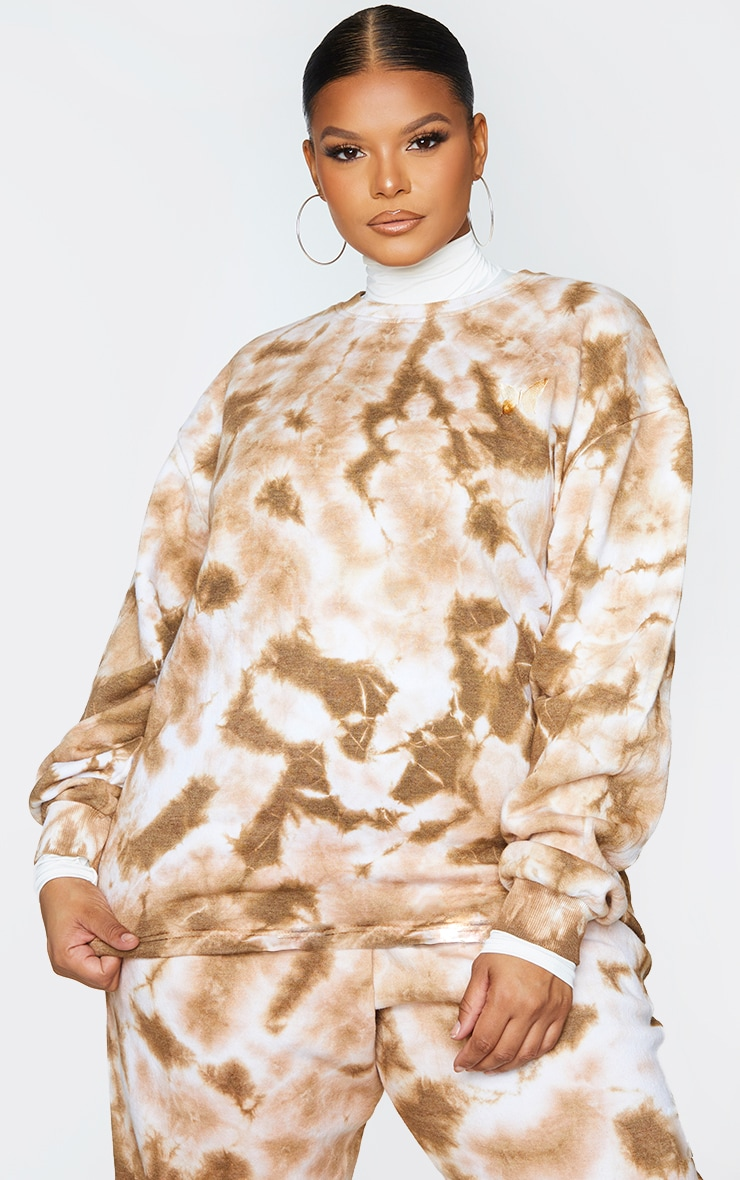 Plus Chocolate Brown Butterfly Embroidered Sweater 1