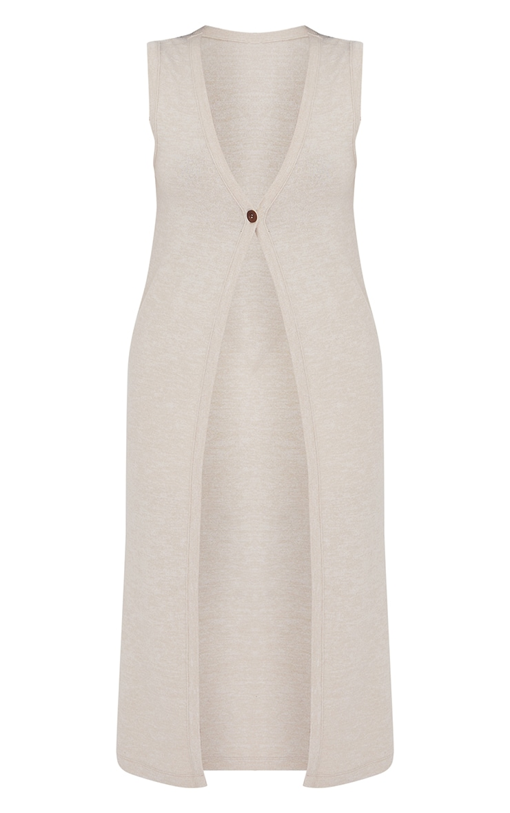 Beige Soft Touch Button Front Sleeveless Midi Cardigan 5