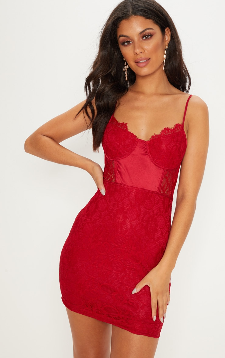 Burgundy Lace Strappy Satin Insert Bodycon Dress  1