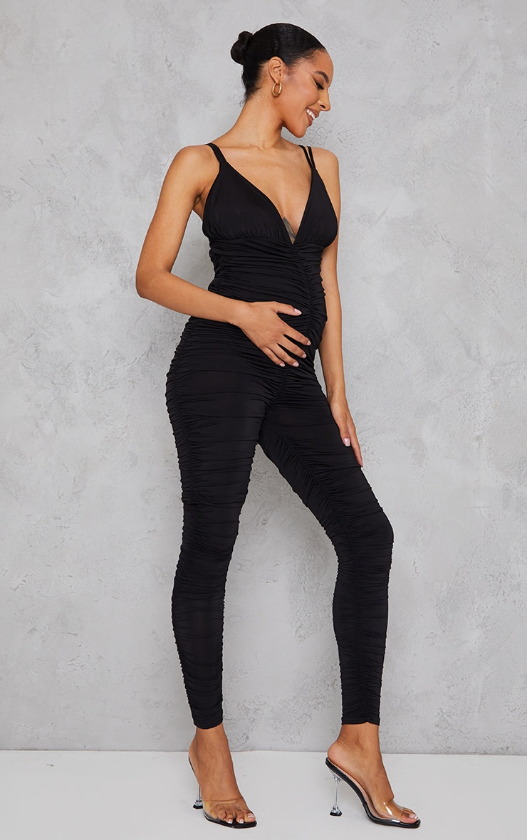 Maternity Black All Over Ruched Jumpsuit 3