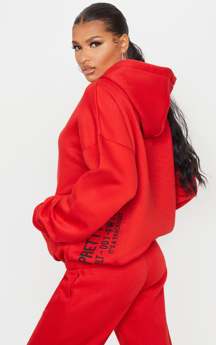 PRETTYLITTLETHING Red Oversized Slogan Back Pocket Front Hoodie 2