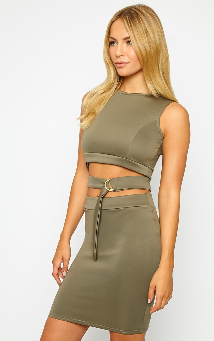 Belle Khaki Belted Mini Dress 4