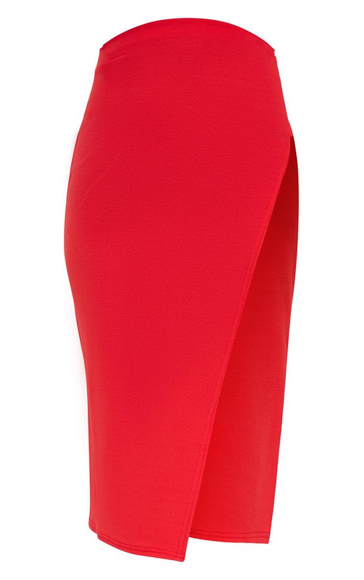 Red Extreme Split Midi Skirt 3