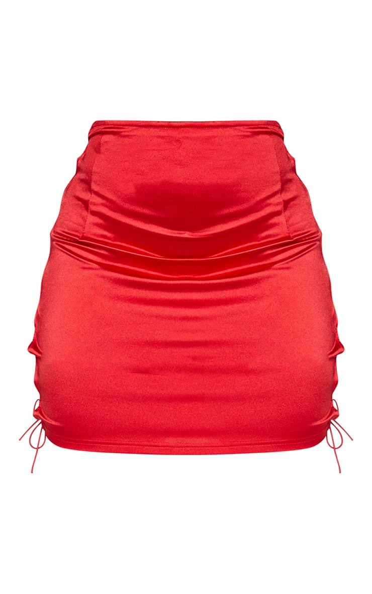 Shape Red Strappy Side Bodycon Skirt 6