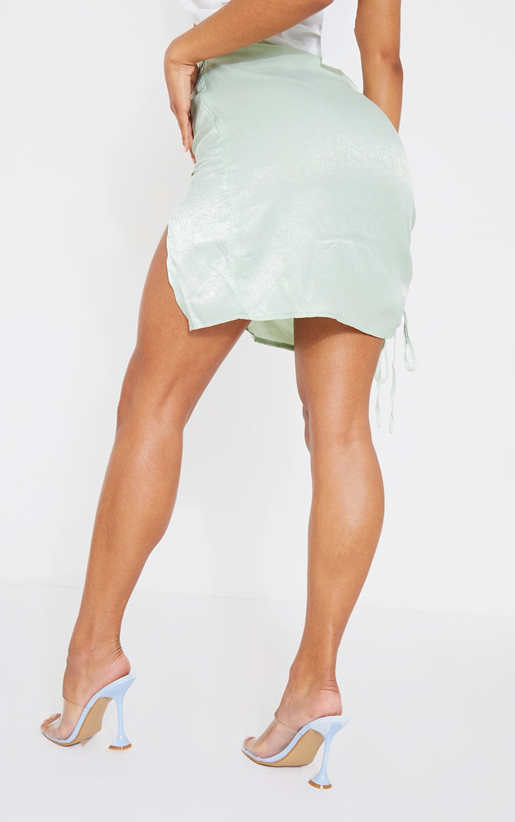 Mint Green Satin Double Ruched Front Mini Skirt 3