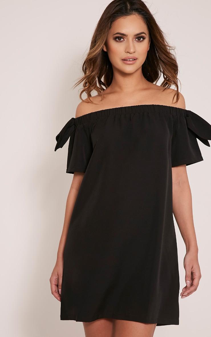 Cayla robe trapèze bardot en crêpe noire 1