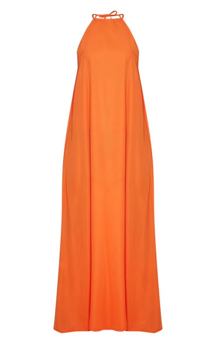 Petite Orange Halterneck Scoop Back Maxi Dress 3
