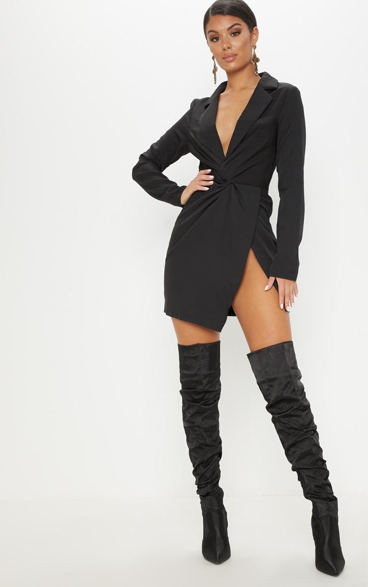 Black Knot Detail Wrap Blazer Dress 4