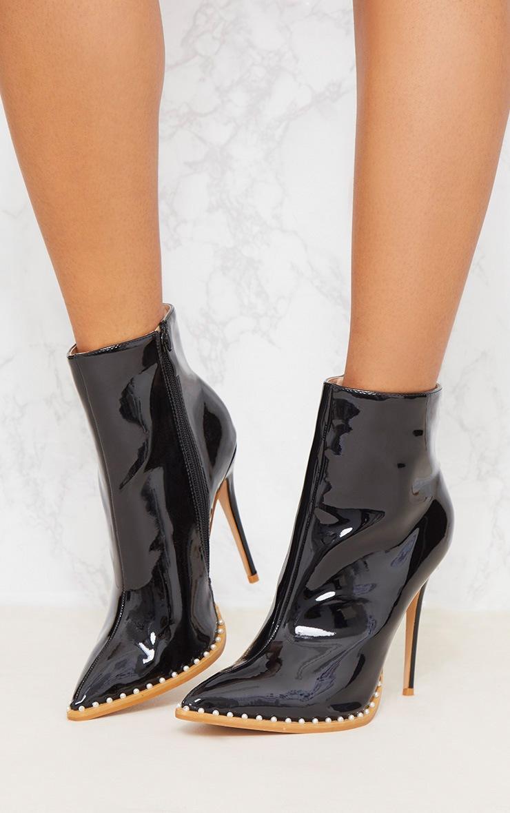 Black Pearl Embellished Ankle Boot 3