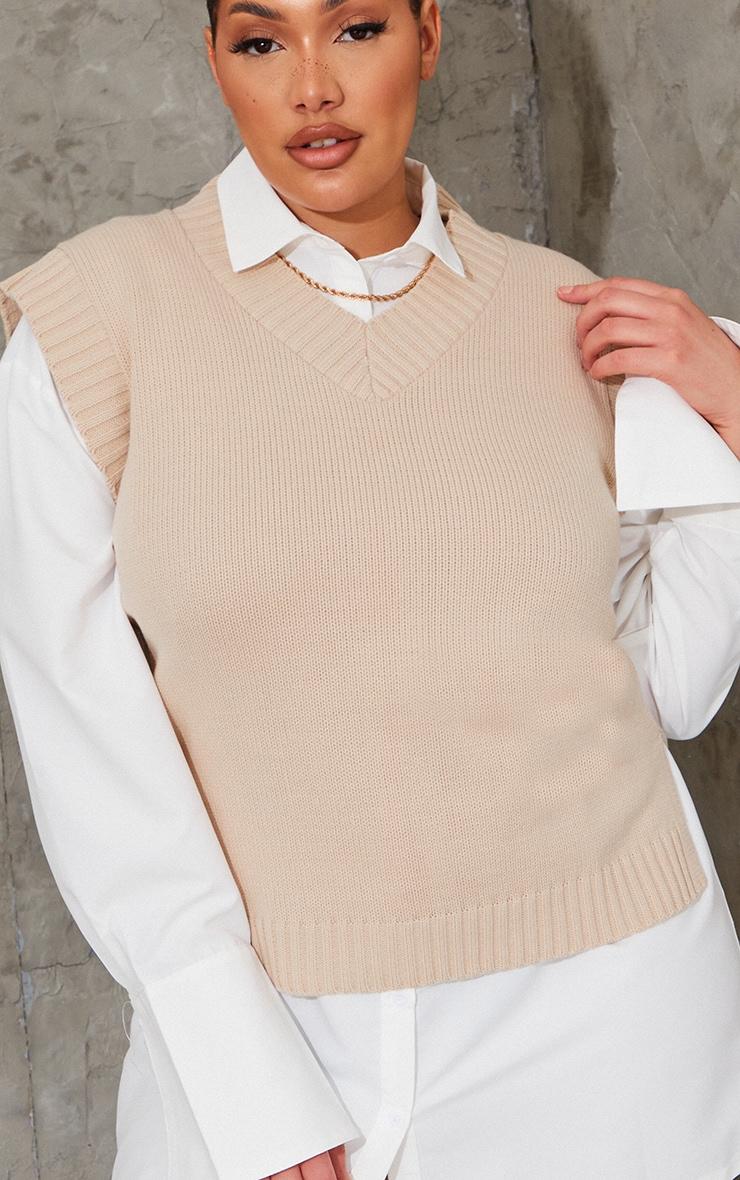 Plus Stone V Neck Knitted Side Split Vest 4