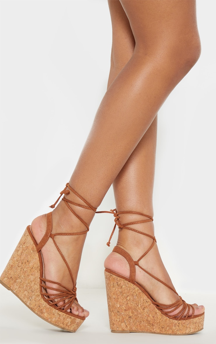 Tan Strappy Lace Up Cork Wedge 1