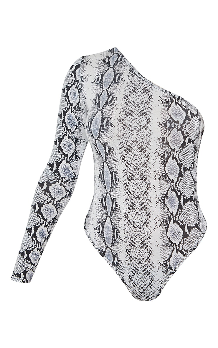 Grey Snake Printed One Shoulder Jersey Long Sleeve Bodysuit 5