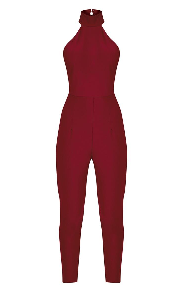 Aliana Oxblood Backless Jumpsuit 3
