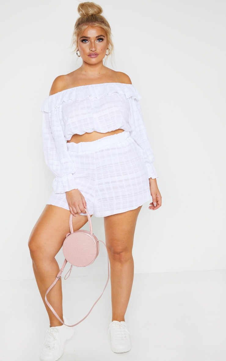 Plus White Textured Bardot Frill Crop Top  4