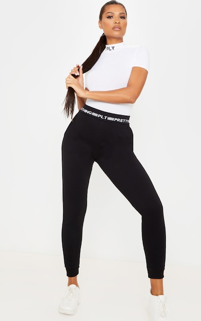 PRETTYLITTLETHING Black Contrast Piping Cuff Jogger