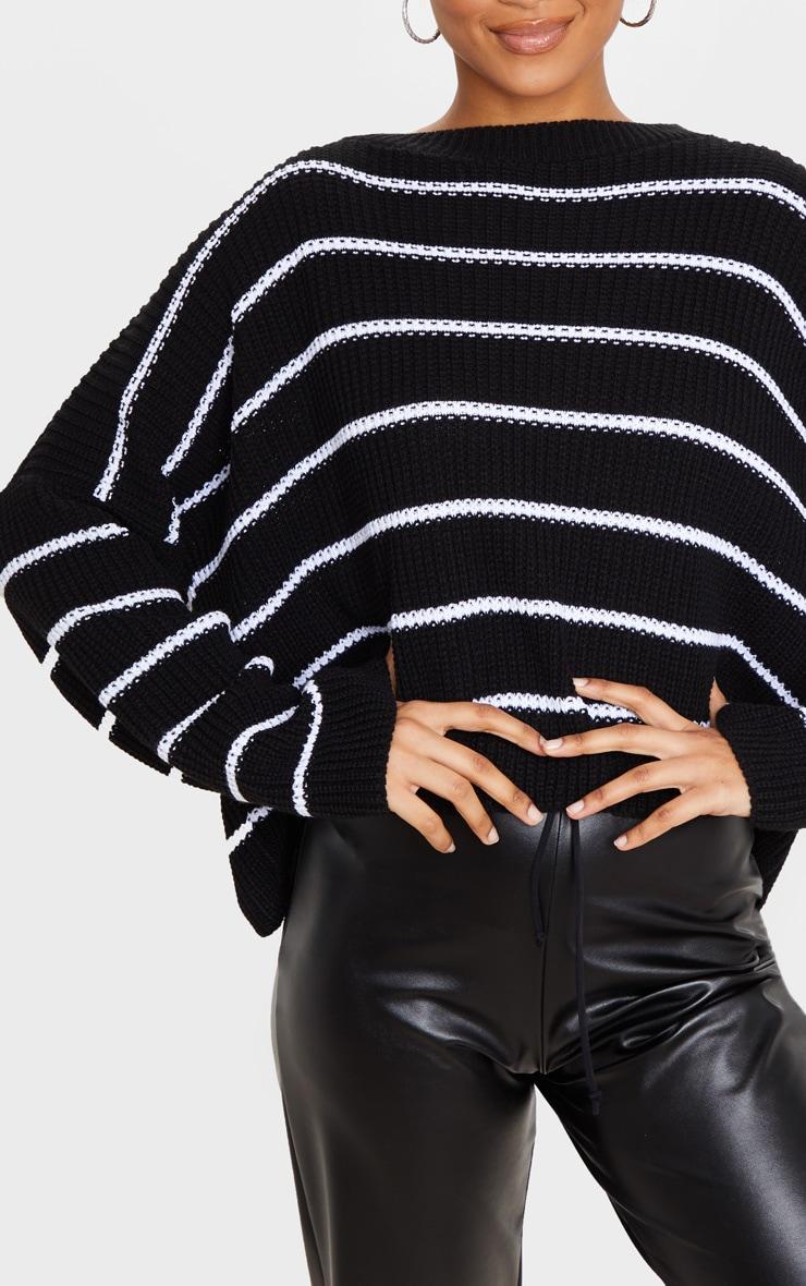 Black Narrow Stripe Knitted Jumper 5