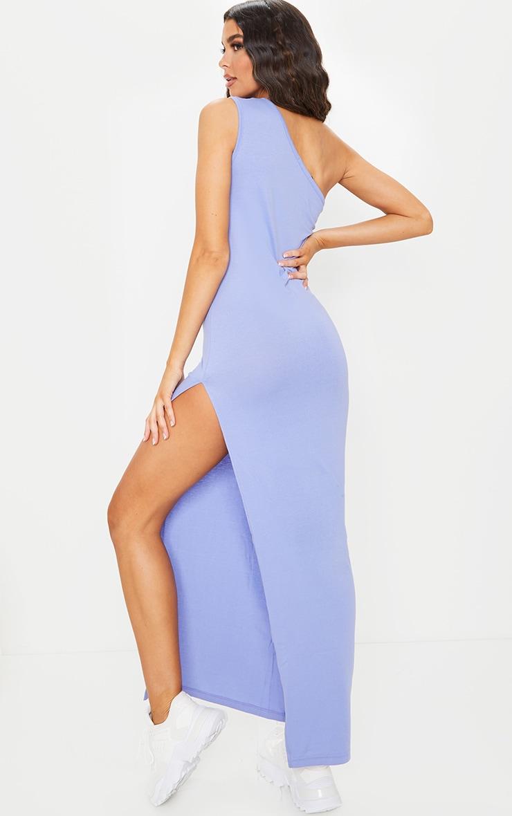 Purple One Shoulder Sleeveless Split Maxi Dress 2