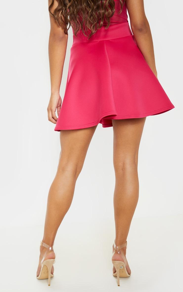 Hot Pink Scuba Skater Mini Skirt 4