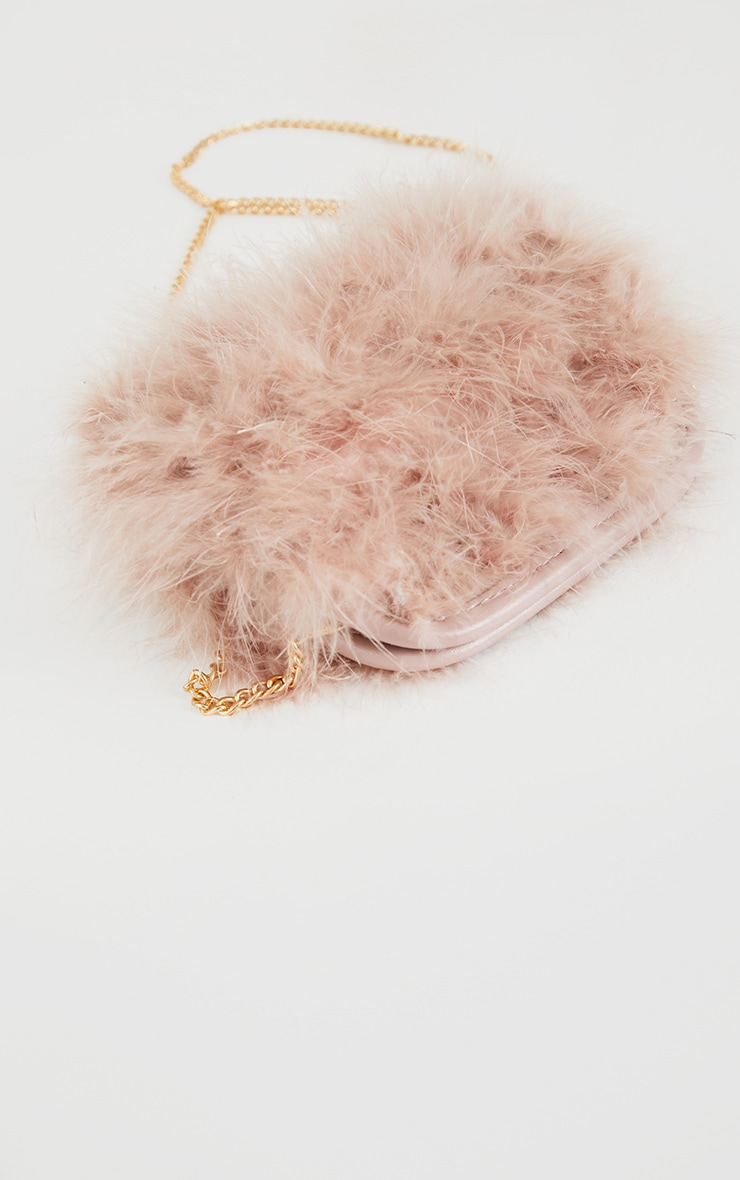 Nude Marabou Feather Clutch Bag 3