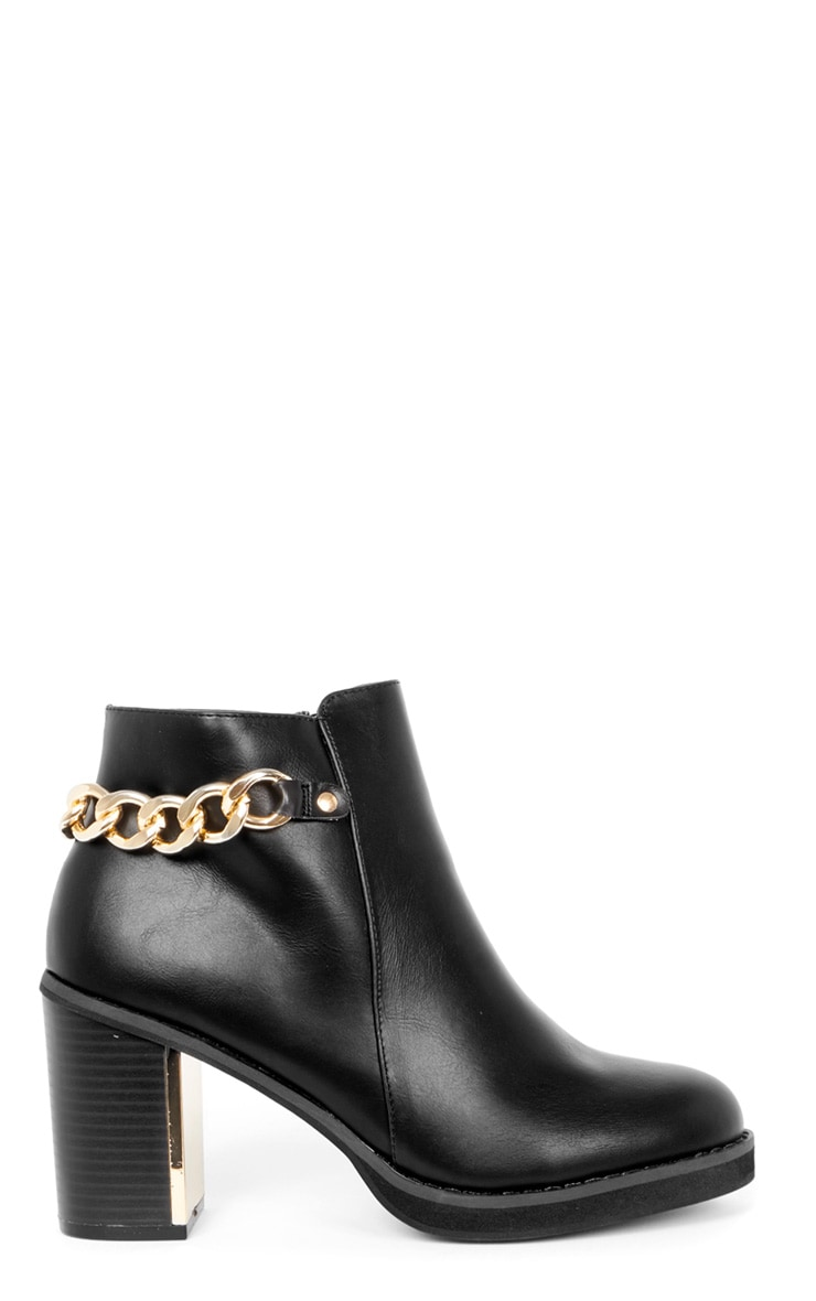 Gina Black Gold Chain Detail Heeled Boot  2