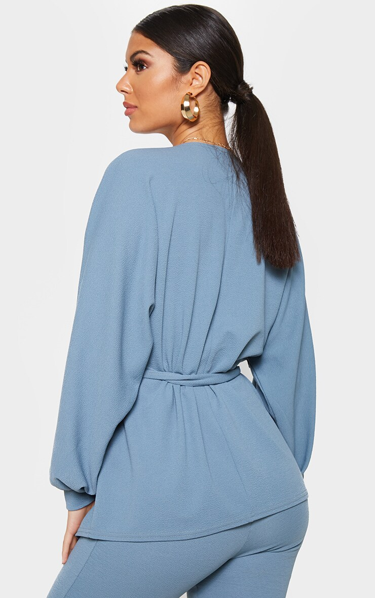Petrol Blue Oversized Sleeve Belted Blazer 2