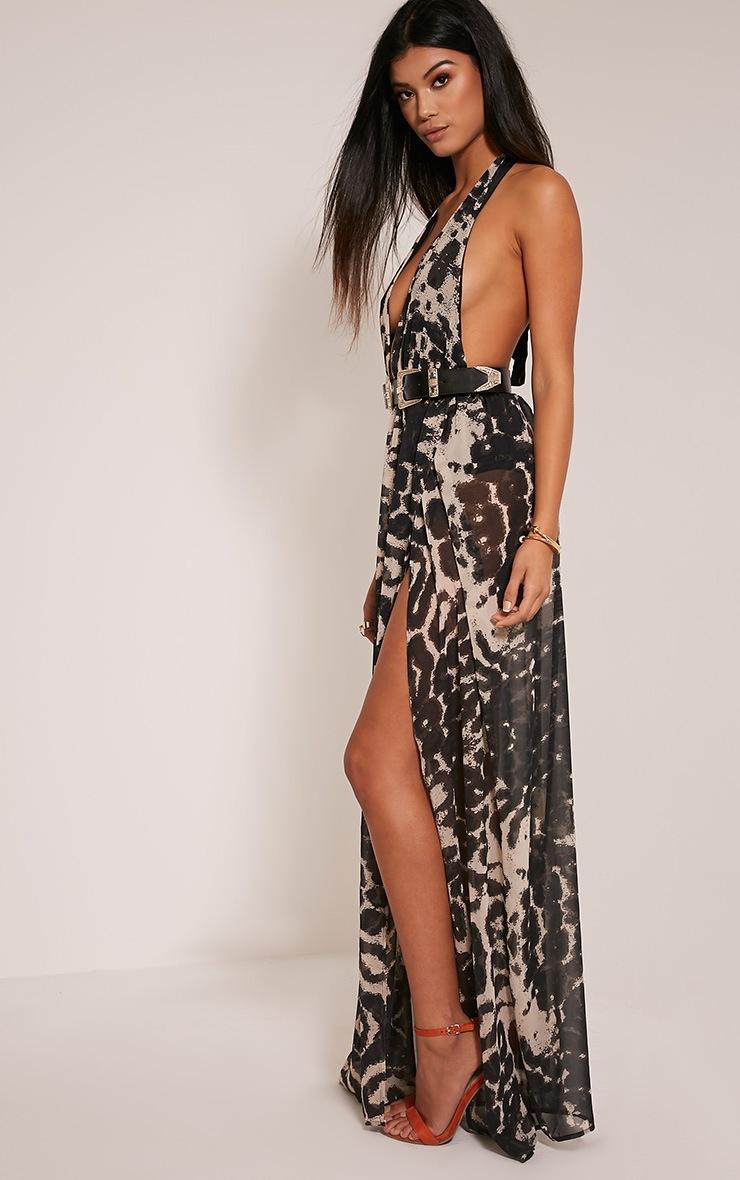 Alina robe maxi taupe décolleté plongeant imprimé léopard 4