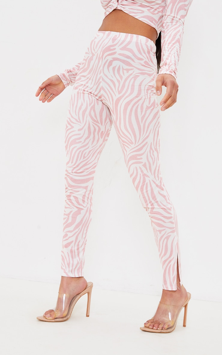 Petite Nude Zebra Print Split Hem Flare Pants 2