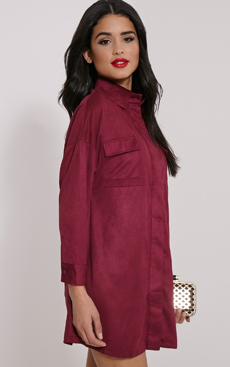 Primula Plum Faux Suede Shirt Dress 1