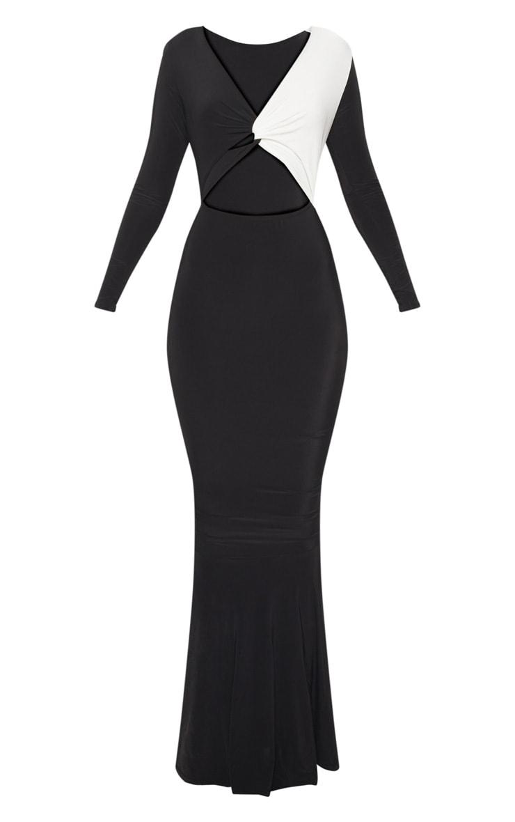 Monochrome Double Layer Slinky Contrast Detail Fishtail Maxi Dress 2