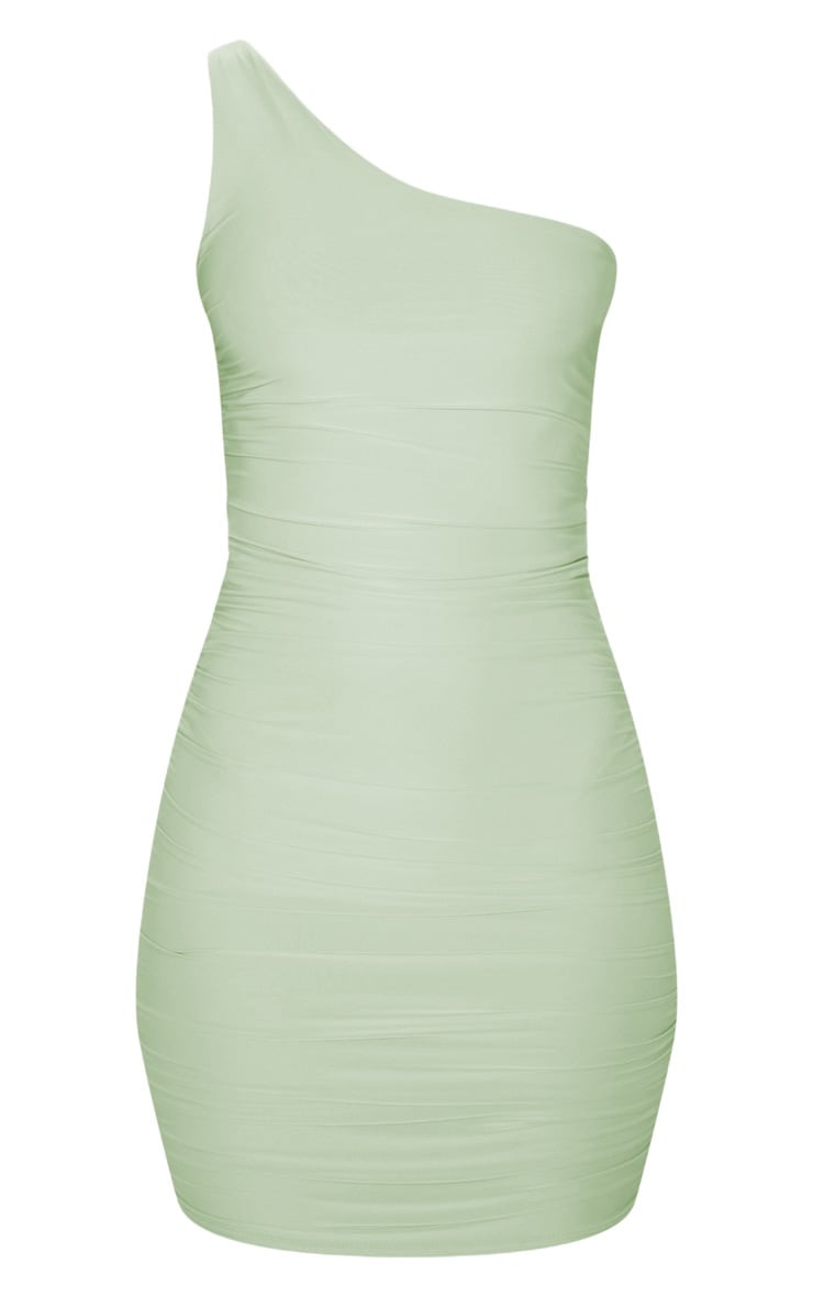 Sage Green Slinky One Shoulder Ruched Bodycon Dress 3
