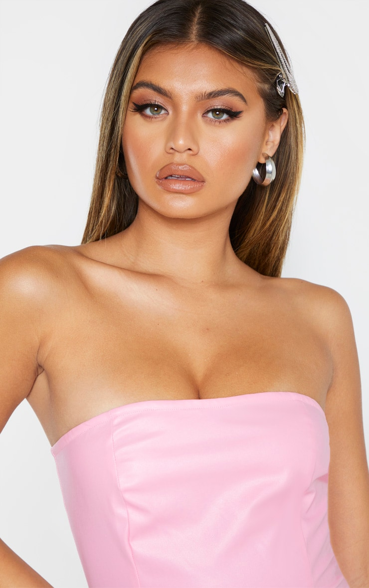 Baby Pink PU Bandeau Bodycon Dress 4