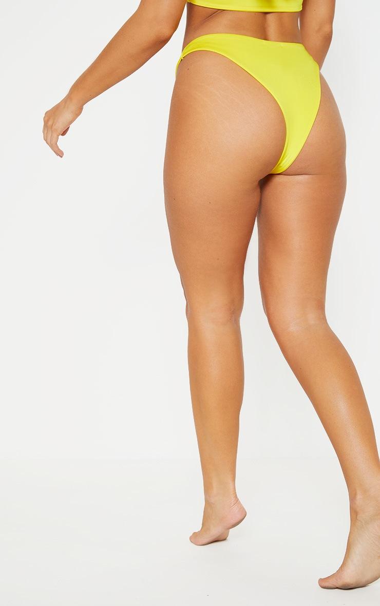 Yellow Mix & Match V Front Brazilian Thong Bikini Bottom 4