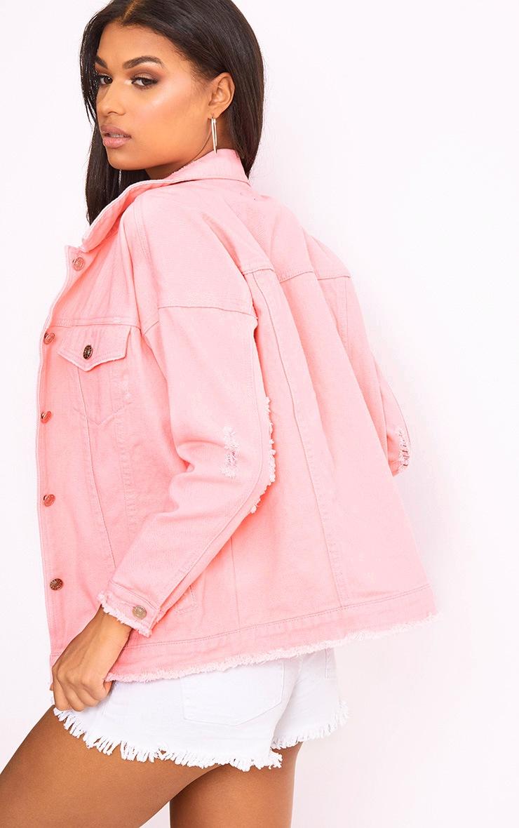 Pink Oversized Fray Hem Denim Jacket 2
