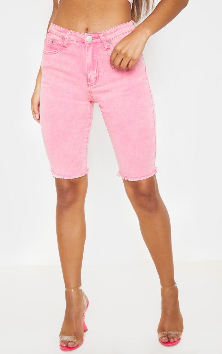 Acid  Pale Pink 3/4 Skinny Denim Shorts 2