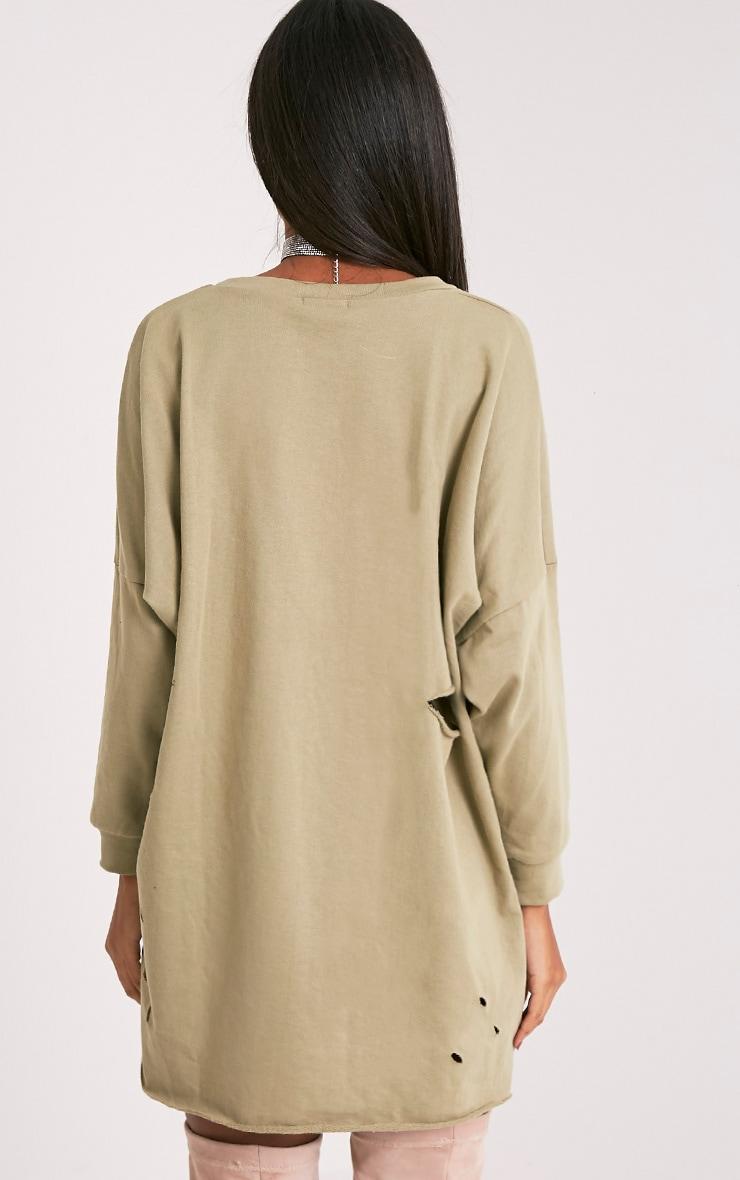 Emilia robe sweat à bords bruts aspect vieilli vert sauge 2