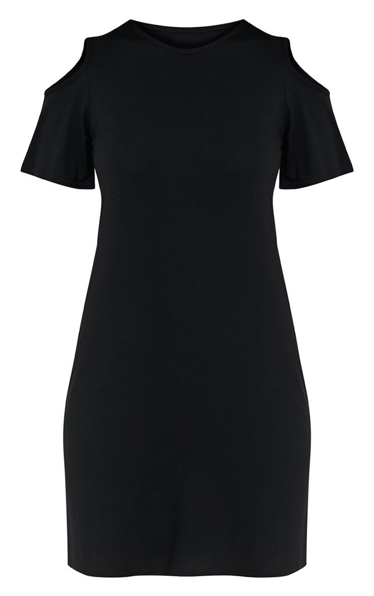Neeka Black Cold Shoulder T-Shirt Dress 3