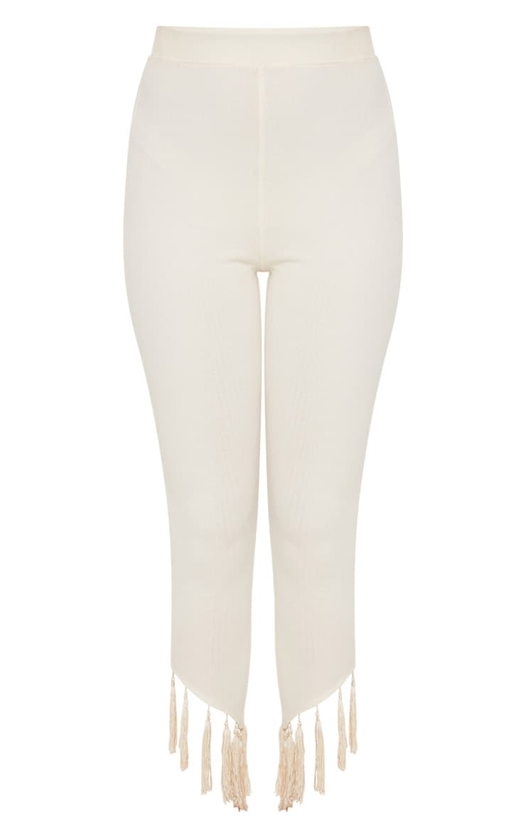 Cream Rib Tassel Trim Legging 3