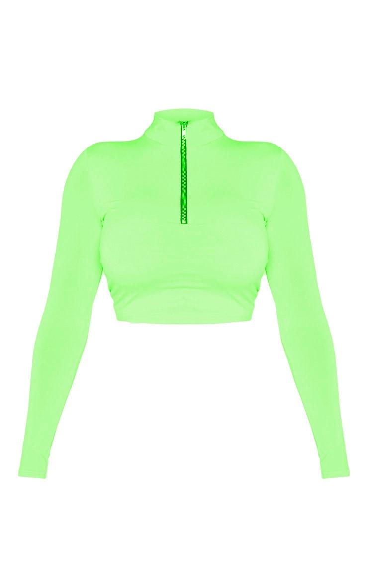 Shape - Crop top vert citron fluo à manches longues et détail zip 3