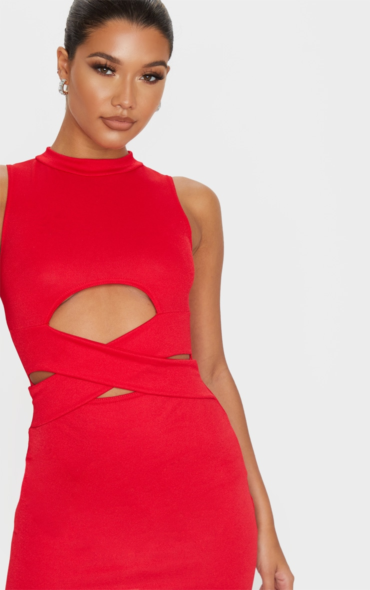 Red Cross Front High Neck Bodycon Dress 5