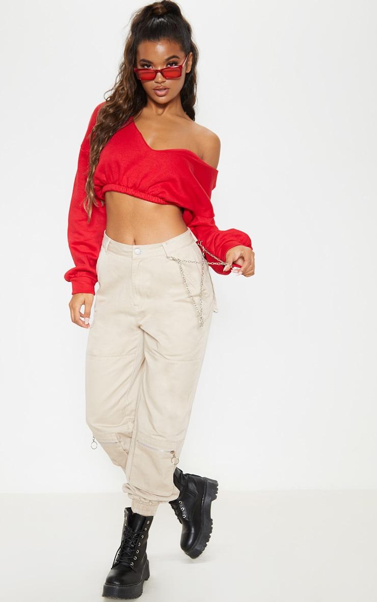 Red Crop Off Shoulder Sweater  4