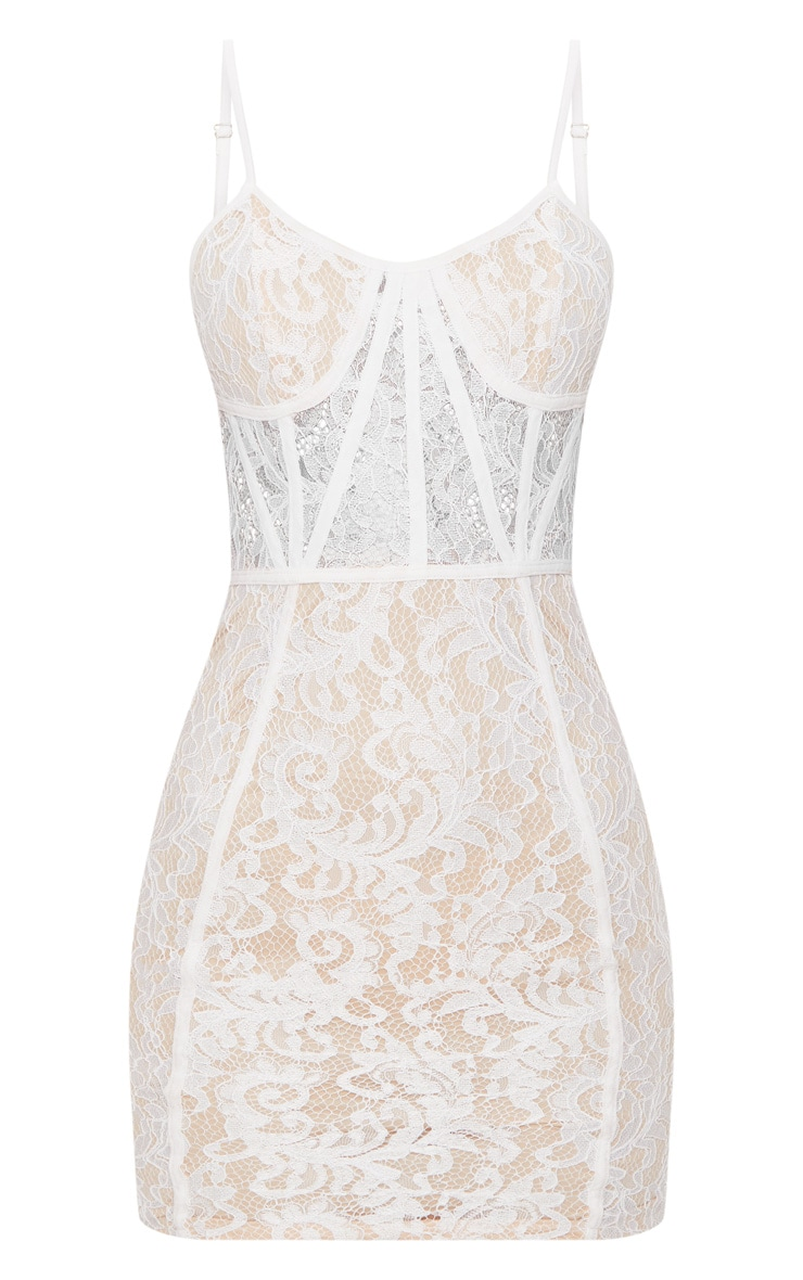 White Lace Strappy Panelled Bodycon Dress 3